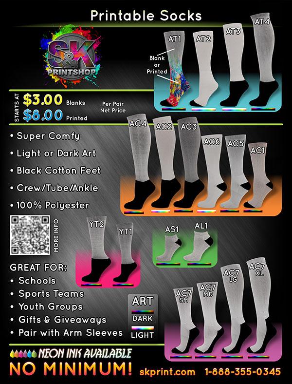 Dye Sublimation Socks by skmfgsocks com
